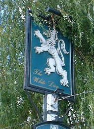 white lion sign